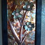 Stainless Steel flowers with burnt copper background to add color